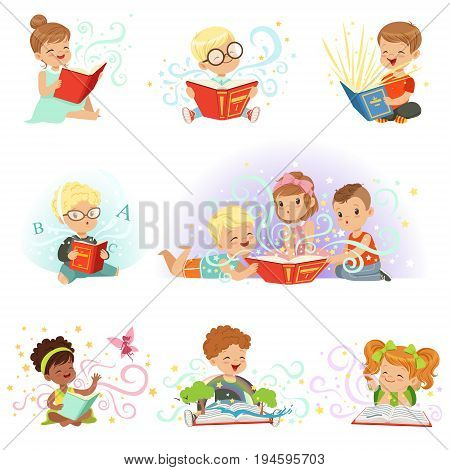 Adorable little boys and girls sitting and reading fairy tales set. Kids fabulous imagination vector illustrations isolated on a light blue background