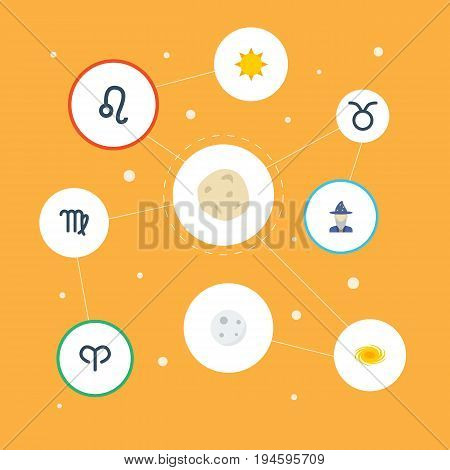 Flat Icons Space, Bull, Ram And Other Vector Elements. Set Of Astrology Flat Icons Symbols Also Includes Meteor, Virgin, Sunshine Objects.