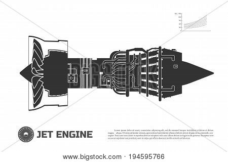 Silhouette of jet engine of aircraft. Part of the airplane. Side view. Aerospase industrial drawing. Vector illustration