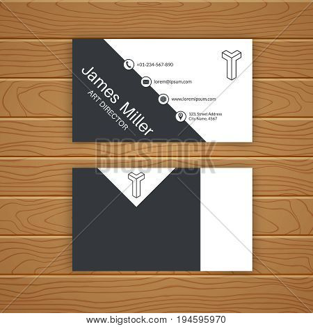 Business card blank template with textured background. Minimal elegant vector design