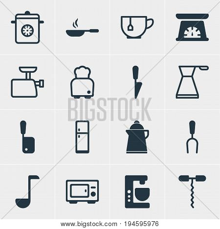 Vector Illustration Of 16 Kitchenware Icons. Editable Pack Of Soup Spoon, Refrigerator, Mixer And Other Elements.