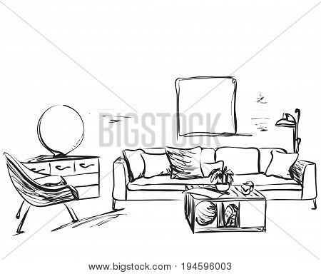 Hand drawn room interior sketch. Chair, table and other furniture