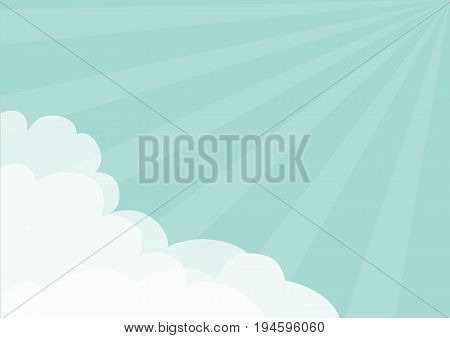 Fluffy Cloud in corners frame template. Blue sky. Sun light rays burst. Sunshine. Cloudshape. Cloudy weather. Flat design. Background. Isolated Vector illustration