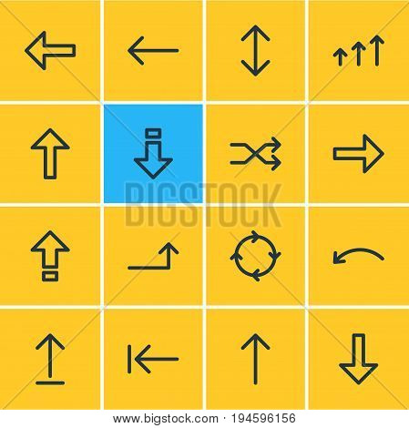 Vector Illustration Of 16 Arrows Icons. Editable Pack Of Exchange, Randomize, Tab Elements.