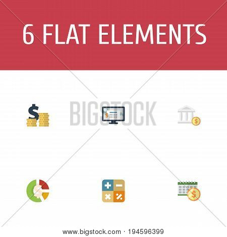 Flat Icons Algebra, Bank, Accounting System And Other Vector Elements. Set Of Registration Flat Icons Symbols Also Includes Stock, Accounting, Dollar Objects.