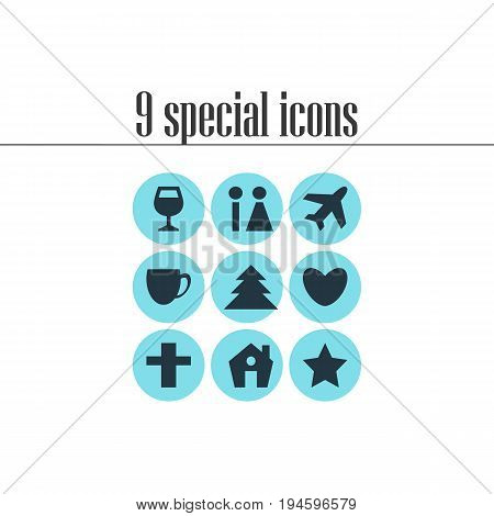 Vector Illustration Of 9 Location Icons. Editable Pack Of Coffee Shop, Heart, Bookmark And Other Elements.