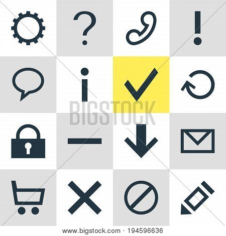 Vector Illustration Of 16 Interface Icons. Editable Pack Of Help , Handset, Downward Elements.