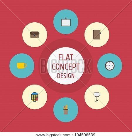 Flat Icons Calculate, Whiteboard, Contact And Other Vector Elements. Set Of Office Flat Icons Symbols Also Includes Contact, Ruler, Accounting Objects.