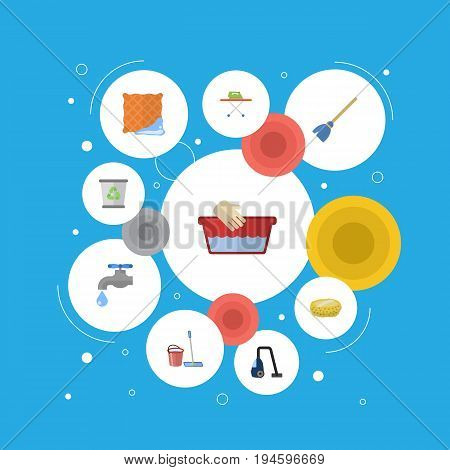 Flat Icons Clothes Washing, Besom, Sweeper And Other Vector Elements. Set Of Hygiene Flat Icons Symbols Also Includes Mopping, Board, Bucket Objects.