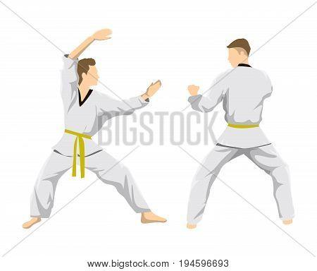 Taekwondo sport athlete. Men in uniform posing.