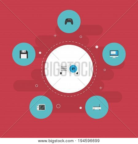 Flat Icons Display, Router, Presentation And Other Vector Elements. Set Of Laptop Flat Icons Symbols Also Includes Modem, Screen, Slideshow Objects.