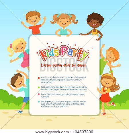 Vector poster for children party. Funny different kids in active poses. Kids party banner with funny children illustration