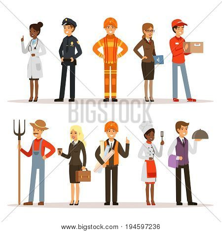 People group in different professions. Fireman, doctor and teacher. Builder, policeman and courier. Vector characters profession worker and secretary illustration