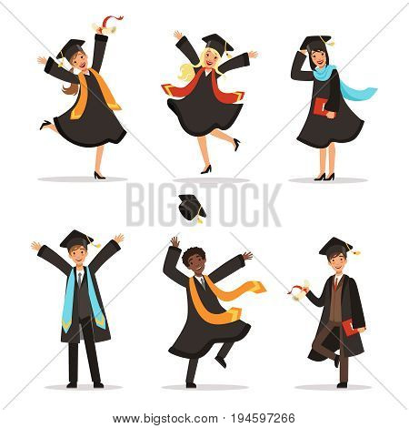 Graduation of happy students at different nations. Vector illustration of university lifestyle. Student university, graduation and education, young character successful students
