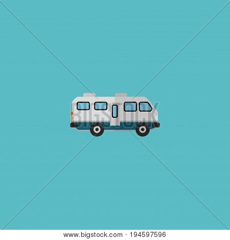 Flat Icon Camper Van Element. Vector Illustration Of Flat Icon Caravan Isolated On Clean Background. Can Be Used As Caravan, Camper And Van Symbols.