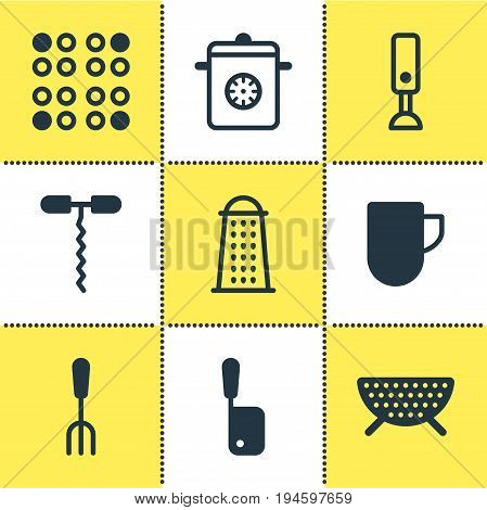 Vector Illustration Of 9 Cooking Icons. Editable Pack Of Mixer, Sieve, Wine Opener And Other Elements.