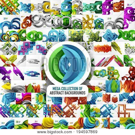 Mega collection of 100 abstract backgrounds with cut style 3d geometric forms - lines, squares, circles, rectangles and other. Business presentation design templates, brochure or flyer concepts or
