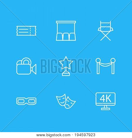 Vector Illustration Of 9 Cinema Icons. Editable Pack Of Reward, Hall, Tragedy And Other Elements.