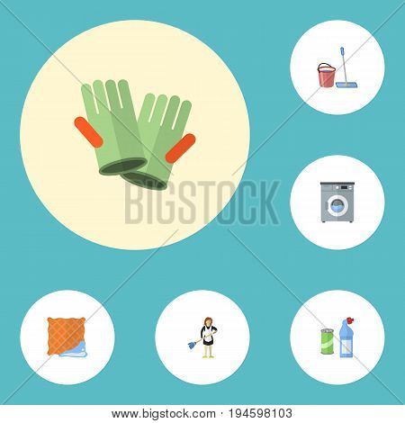 Flat Icons Mopping, Laundromat, Washcloth And Other Vector Elements. Set Of Cleaning Flat Icons Symbols Also Includes Besom, Washing, Machine Objects.