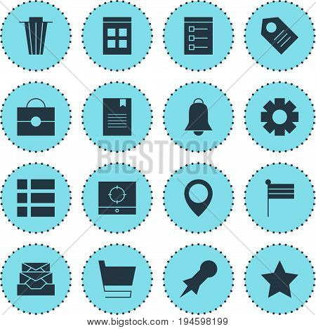 Vector Illustration Of 16 Web Icons. Editable Pack Of Notification, Portfolio, Trash And Other Elements.