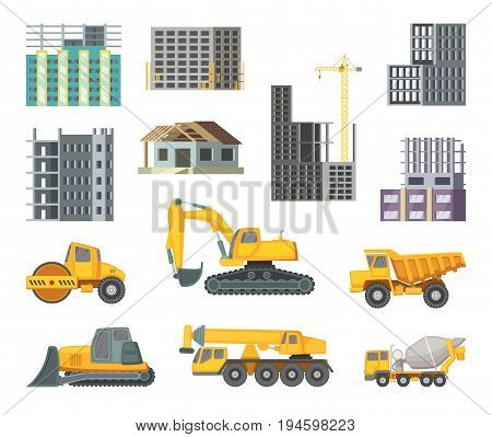 Big heavy yellow machines and modern buildings at construction stages. Unfinished home. Vector pictures in cartoon style construction machiner and home illustration