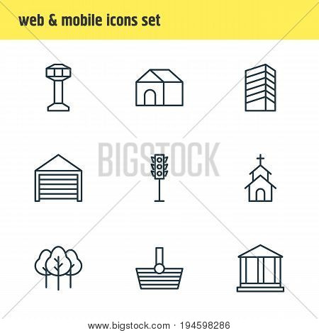 Vector Illustration Of 9 Urban Icons. Editable Pack Of Parking, Forest, Home And Other Elements.