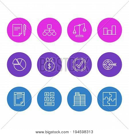 Vector Illustration Of 12 Business Icons. Editable Pack Of Chart, Graph, Balance And Other Elements.