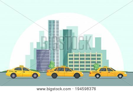 Vector background illustration of modern urban landscape with different buildings and taxi cars. Urban taxi cab and building downtown