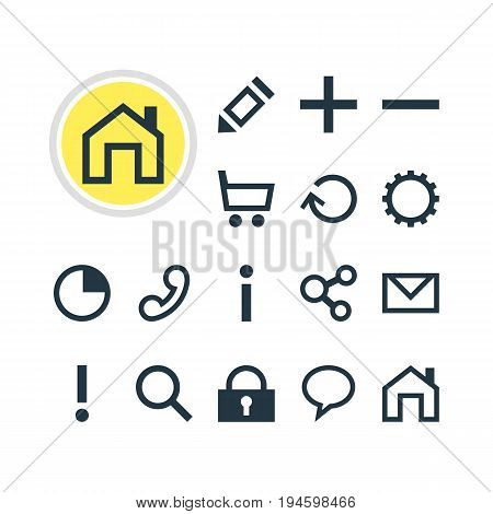 Vector Illustration Of 16 Member Icons. Editable Pack Of Pen , Mainpage, Handset Elements.
