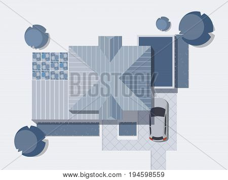 Top view of a country with house, courtyard, lawn and garage. Top view of a house. Monochrome Vector illustration.