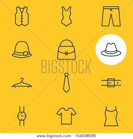Vector Illustration Of 12 Clothes Icons. Editable Pack Of Swimming Trunks, Fedora, Casual And Other Elements.