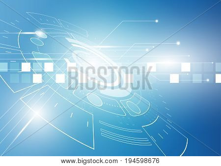 Blue abstract technical background vector design,Blue futuristic background