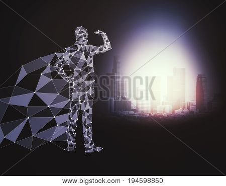 Abstract polygonal hero with cape looking into the distance on dark background with bright city. 3D Rendering
