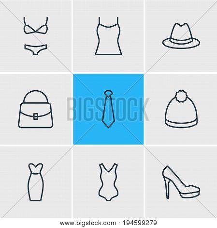 Vector Illustration Of 9 Garment Icons. Editable Pack Of Cravat, Sandal, Swimwear Elements.