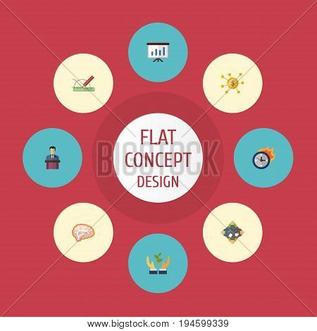 Flat Icons Discussion, Show, Design And Other Vector Elements. Set Of Startup Flat Icons Symbols Also Includes Design, Time, Discussion Objects.