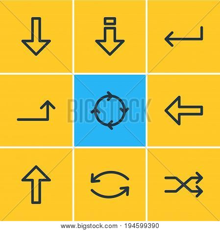 Vector Illustration Of 9 Sign Icons. Editable Pack Of Up, Circle, Direction And Other Elements.