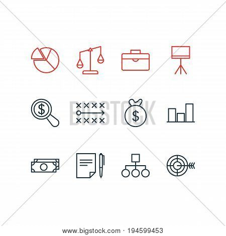 Vector Illustration Of 12 Business Icons. Editable Pack Of Balance, Tactics, Graph And Other Elements.