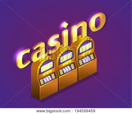 Isometric Flat 3D Isolated Concept Vector Cutaway Interior Casino.