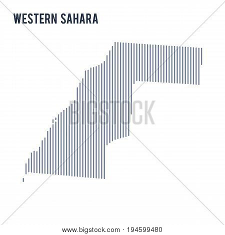 Vector Abstract Hatched Map Of Western Sahara With Vertical Lines Isolated On A White Background.