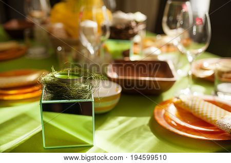 Bright spring table setting ,table setting for 8 March, International Women's Day