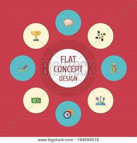 Flat Icons Cash, Support, Design And Other Vector Elements. Set Of Startup Flat Icons Symbols Also Includes Support, Teamwork, Limit Objects.