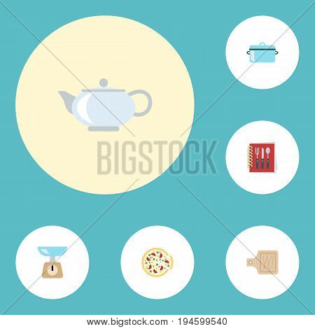 Flat Icons Casserole, Pepperoni, Breadboard And Other Vector Elements. Set Of Gastronomy Flat Icons Symbols Also Includes Teapot, Pot, Pizza Objects.