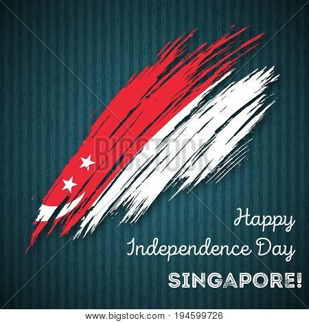 Singapore Independence Day Patriotic Design. Expressive Brush Stroke In National Flag Colors On Dark