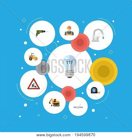 Flat Icons Steamroller, Tractor, Bulb And Other Vector Elements. Set Of Industry Flat Icons Symbols Also Includes Faucet, Electric, Screwdriver Objects.