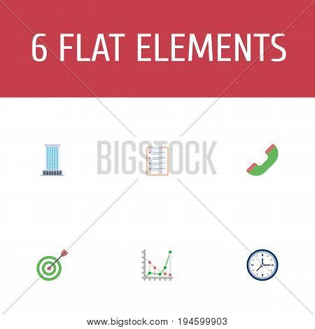 Flat Icons Clock, Office, Task List And Other Vector Elements. Set Of Job Flat Icons Symbols Also Includes Schedule, Chart, Phone Objects.