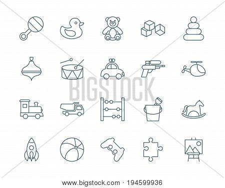 Toys set of vector icons, linear style