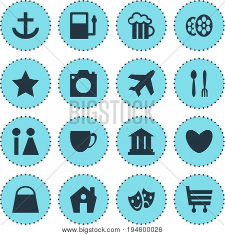 Vector Illustration Of 16 Travel Icons. Editable Pack Of Photo Device, University, Refueling And Other Elements.