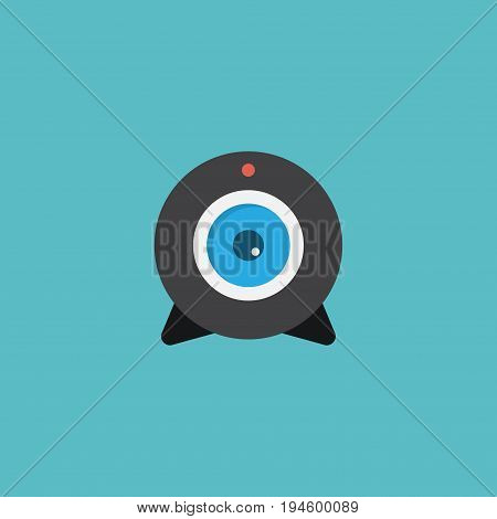 Flat Icon Camera Element. Vector Illustration Of Flat Icon Web Cam Isolated On Clean Background. Can Be Used As Web, Camera And Broadcast Symbols.