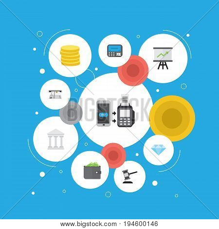 Flat Icons Growing Chart, Small Change, Teller Machine And Other Vector Elements. Set Of Banking Flat Icons Symbols Also Includes Chart, Coins, Verdict Objects.