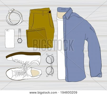 Vector illustration of colorful Hand drawn and doodle of top view, flat lay folded shirt with t-shirt, trousers, shoes, spectacles, phone, clock, and belt. Mens set on wooden background. Template for brochure, journal, flayer with trend design.